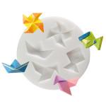 Moule en silicone thème origami - 4 formes - diam. 7 cm