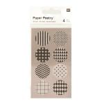 Stickers en papier Washi noir et blanc x 4 planches