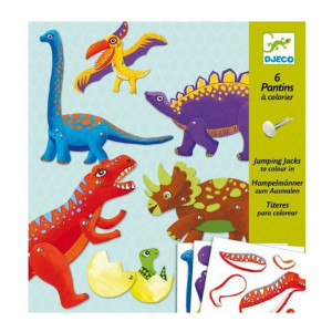 Atelier Pantins à colorier 6 Dinosaures