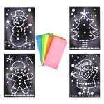 Feuille cartonné A4 thème de Noël + gommettes